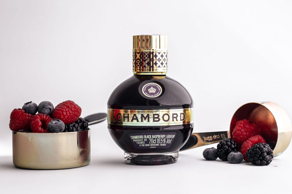 Chambord berry liqueur with blackberry, blueberry and raspberry