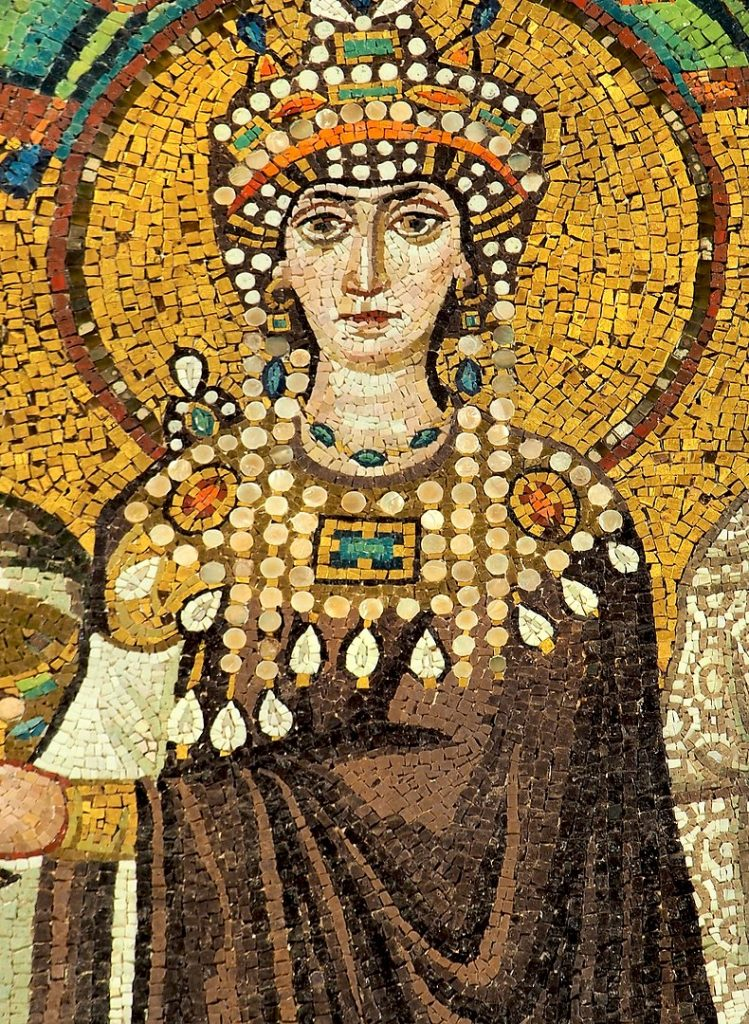 Mosaic of Theodora, wife of Justinian the first in Ancient Rome